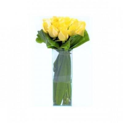 Buquê de Rosas Amarelas no Vidro Grande