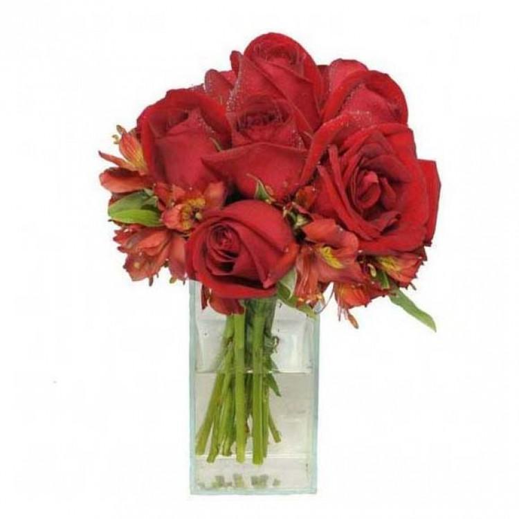 Arranjo Vidrinho de Rosas Vermelhas